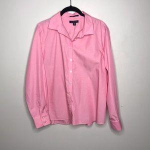 Lands' End No Iron Supima Shirt Pink Button Up 14P